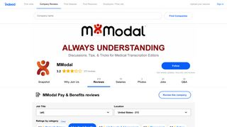 Working at MModal: 75 Reviews about Pay & Benefits | Indeed.com