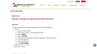 How do I change my password for Online Branch? | MACU