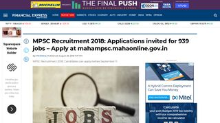 MPSC Recruitment 2018: Applications invited for 939 jobs - Apply at ...