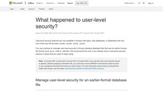 What happened to user-level security? - Access - Office Support