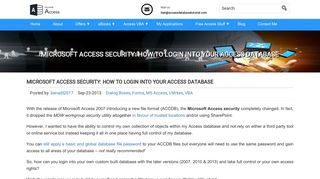 Microsoft Access Security: How To Login Into Your Access Database