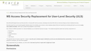 MS Access Security Replacement for User-Level Security (ULS ...