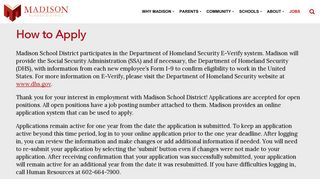 How to Apply - Madison School District