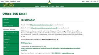 MSSU - Student Email - Office 365 | MSSU