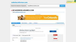 myaddress.aramex.com at Website Informer. Login. Visit Myaddress ...