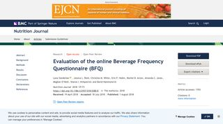 Evaluation of the online Beverage Frequency Questionnaire (BFQ ...