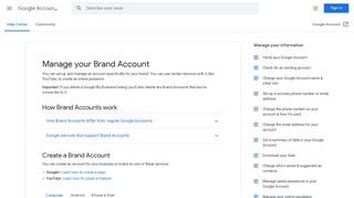Manage your Brand Account - Computer - Google Account Help