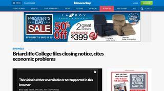 Briarcliffe College files closing notice, cites economic problems ...