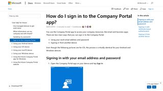 How to sign in to the Company Portal app | Microsoft Docs