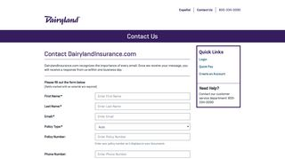 Contact Us Question | My Dairyland Insurance