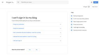 I can't sign in to my blog - Blogger Help - Google Support