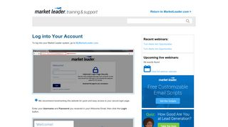 Log into Your Account - Help - Market Leader
