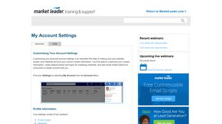 My Account Settings - Help - Market Leader