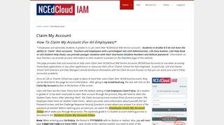 Claim My Account   NCEdCloud IAM Service