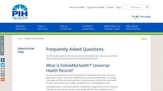Patient Portal FAQs - PIH Health - Whittier, CA