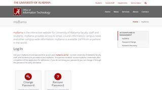myBama – Office of Information Technology   The University of Alabama