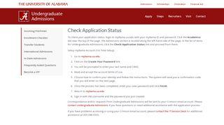 Check Application Status   Undergraduate Admissions   The University ...