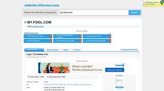my.fool.com at WI. Login | The Motley Fool - Website Informer