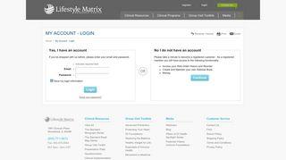 My Account - Login   The Lifestyle Matrix