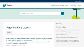 Registration & Access - Pearson Support