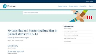 MyLabsPlus and MasteringPlus: Sign In (School starts with A-L)