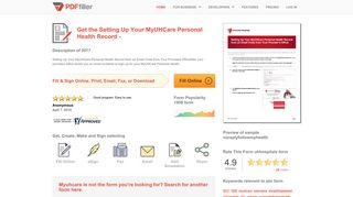 Fillable Online Setting Up Your MyUHCare Personal Health Record ...