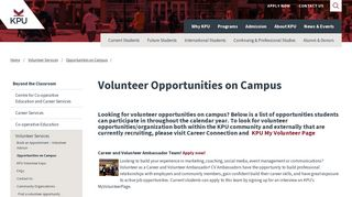 Volunteer Opportunities on Campus | KPU.ca - Kwantlen Polytechnic ...