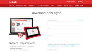 nabi Sync - Log-in And Download