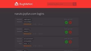 naruto.joyfun.com passwords - BugMeNot