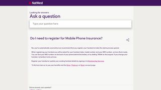 Do I need to register for Mobile Phone Insurance? - NatWest