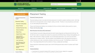 Placement Testing — CPCC