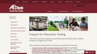 Prepare for Placement Testing | Testing Center | - A-B Tech
