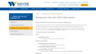 Placement Test (NC DAP) Information - Wayne Community College ...