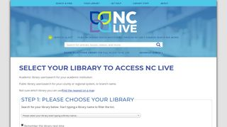 Select your library to access NC LIVE | NC LIVE