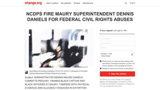 Petition · NCDPS ERIC A. HOOKS: FIRE MAURY CORRECTIONAL ...