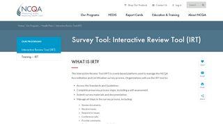 Interactive Review Tool (IRT) - NCQA