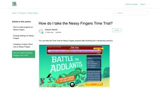 How do I take the Nessy Fingers Time Trial? – Nessy