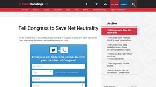 Tell Congress to Save Net Neutrality - Public Knowledge