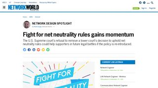 Fight for net neutrality rules gains momentum | Network World