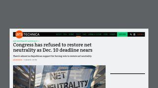Congress has refused to restore net neutrality as Dec. 10 deadline ...