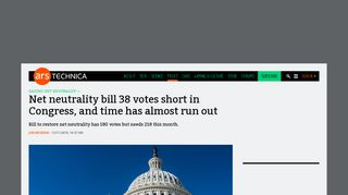 Net neutrality bill 38 votes short in Congress, and time has almost ...