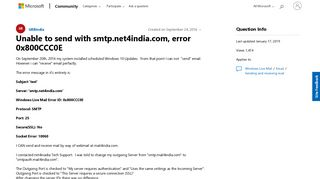 Unable to send with smtp.net4india.com, error 0x800CCC0E ...