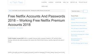 Free Netflix Accounts And Passwords | Working Premium Account 2018