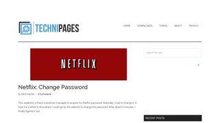 Netflix: Change Password - Technipages