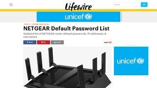 NETGEAR Default Password List (Updated January 2019) - Lifewire