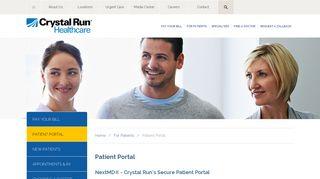 Patient Portal | Crystal Run Healthcare