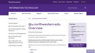 @u.northwestern.edu Overview: Information Technology ...