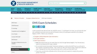 EMS Exam Schedules | Wisconsin Department of Health Services