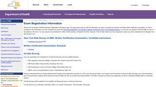 Exam Registration Information - New York State Department of Health