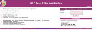 OAP Back Office Application - Login